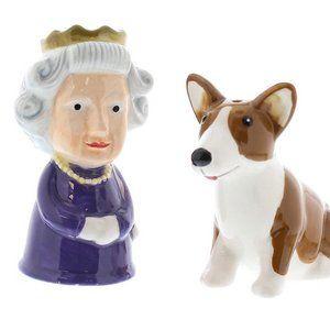 Queen Elizabeth and Corgi Salt & Pepper Shakers